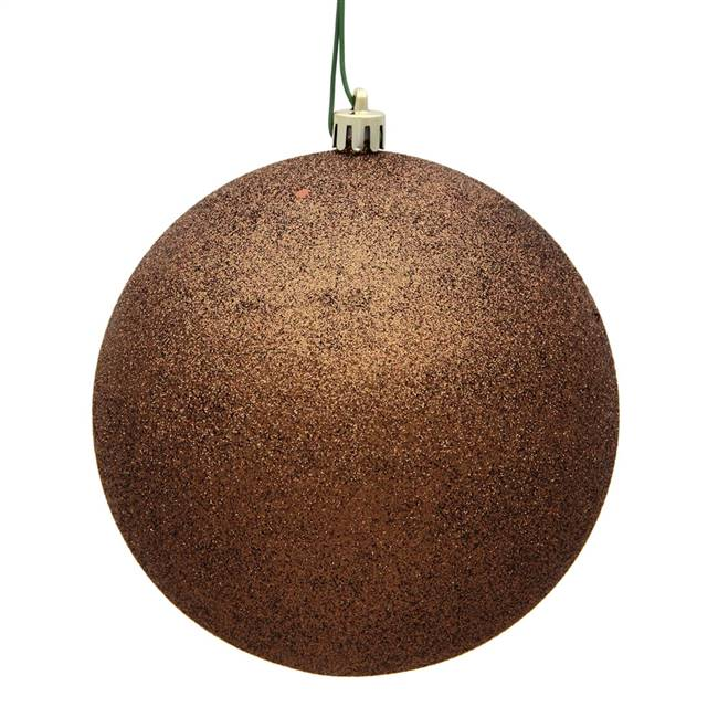 "4"" Mocha Glitter Ball Drilled 6/Bag"