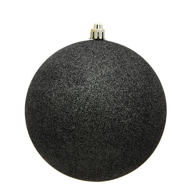 "4"" Gunmetal Glitter Ball Drilled 6/Bag"