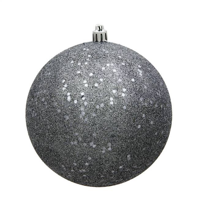 "4"" Pewter Sequin Ball Drilled 6/Bag"