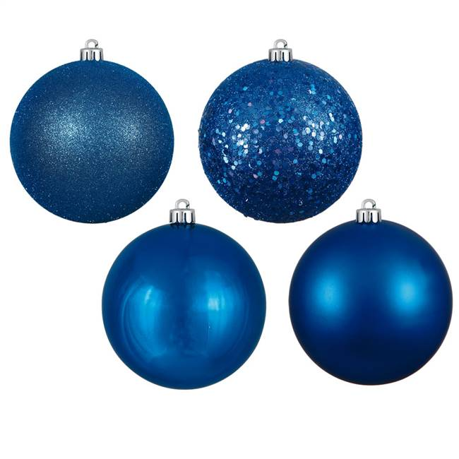 "4.75"" Blue 4 Finish Ball Asst 4/Box"