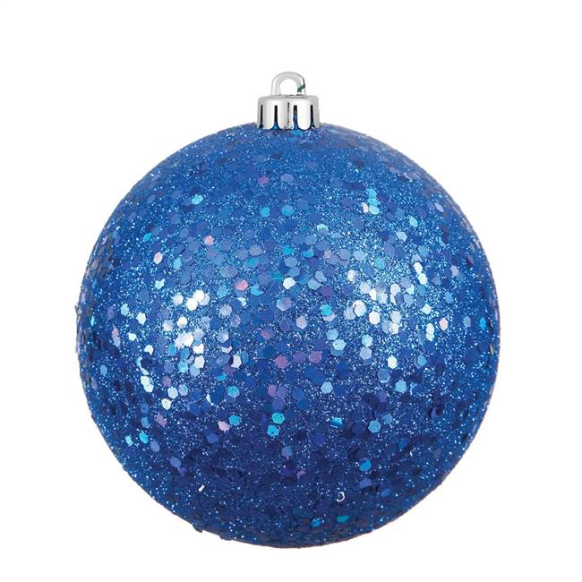 "4.75"" Blue Sequin Ball Drilled 4/Bag"