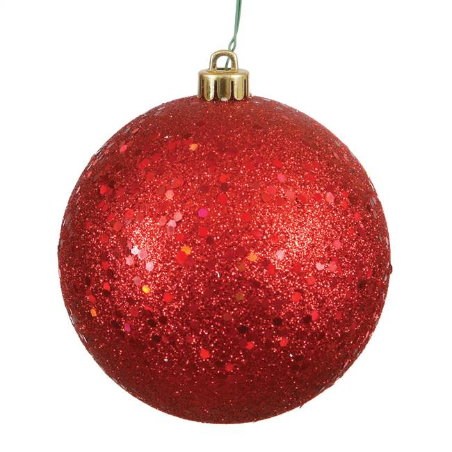 "4.75"" Red Sequin Ball Drilled 4/Bag"