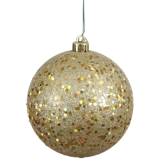 "4.75"" Gold Sequin Ball Drilled 4/Bag"