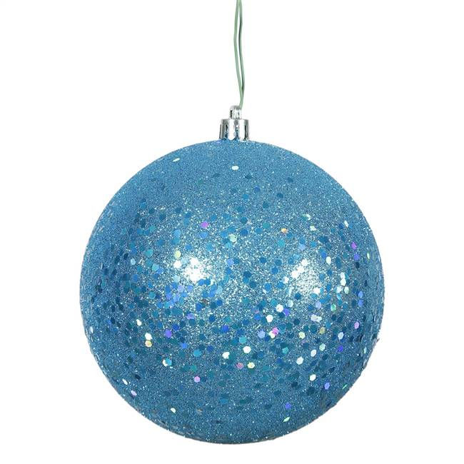 "4.75"" Turquoise Sequin Ball Drill 4/Bag"