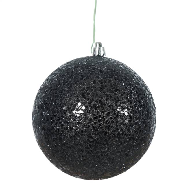 "4.75"" Black Sequin Ball Drilled 4/Bag"