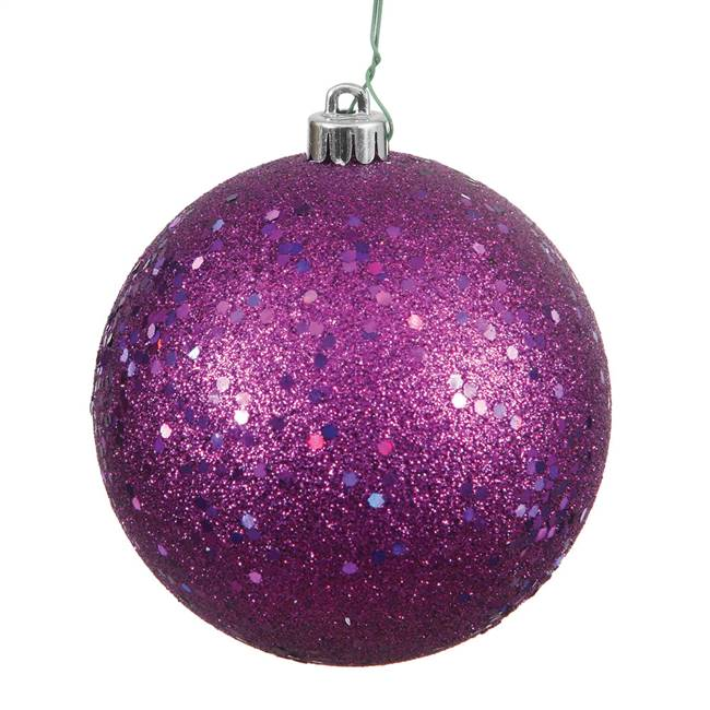 "4.75"" Plum Sequin Ball Drilled 4/Bag"