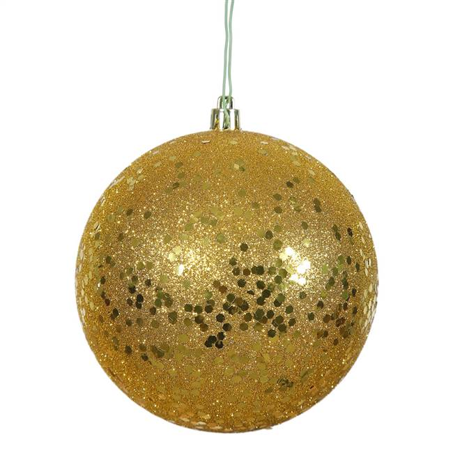 "4.75"" Antiq Gold Sequin Ball Drill 4/Bag"