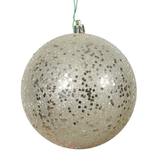 "4.75"" Champagne Sequin Ball Drill 4/Bag"