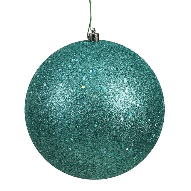 "4.75"" Teal Sequin Ball Drilled 4/Bag"