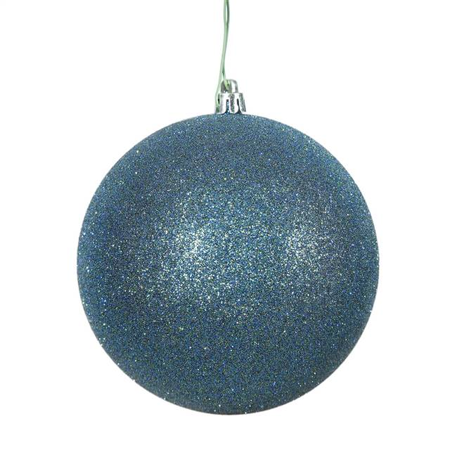"4.75"" Sea Blue Glitter Ball Drilled 4/Ba"