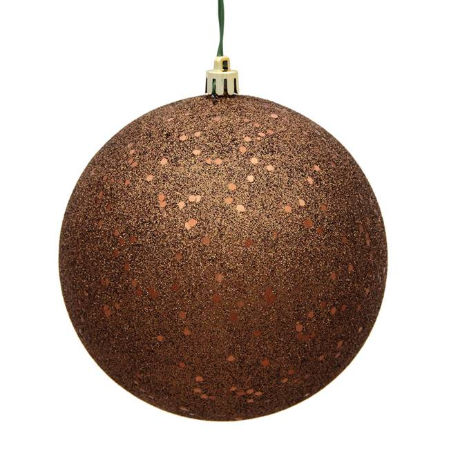 "4.75"" Mocha Sequin Ball Drilled 4/Bag"