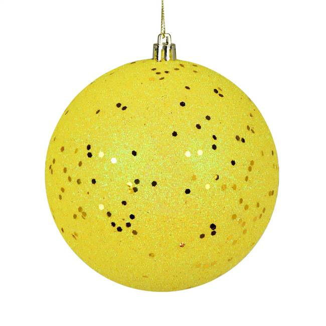 "4.75"" Yellow Sequin Ball Drilled 4/Bag"