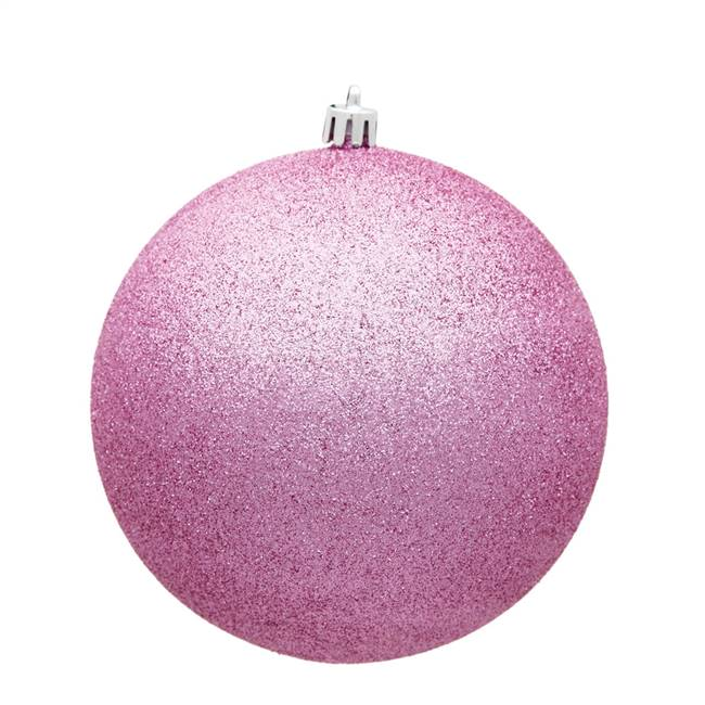 "4.75"" Pink Glitter Ball Drilled 4/Bag"