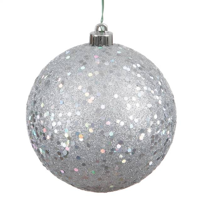"6"" Silver Sequin Ball Drilled 4/Bag"