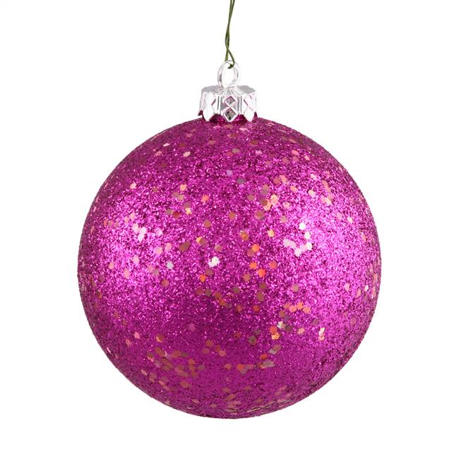 "6"" Magenta Sequin Ball Drilled 4/Bag"