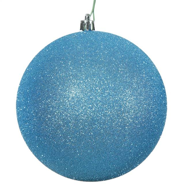 "6"" Turquoise Glitter Ball Drilled 4/Bag"