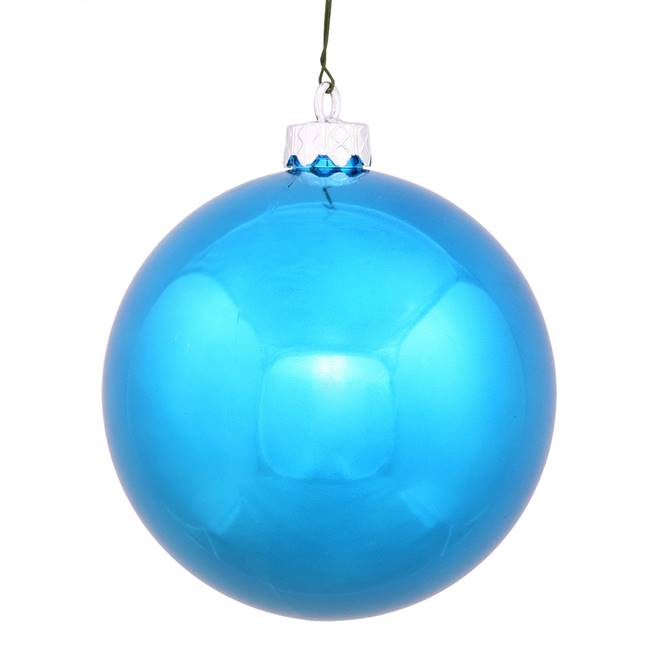 "6"" Turquoise Shiny Ball UV Drilled 4/Bag"