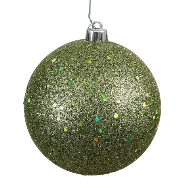 "6"" Olive Sequin Ball Drilled 4/Bag"