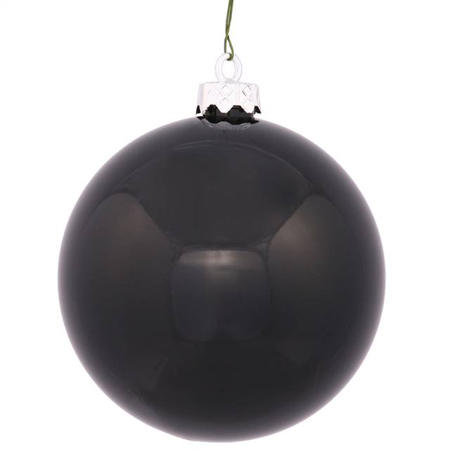 "6"" Black Shiny Ball UV Drilled 4/Bag"