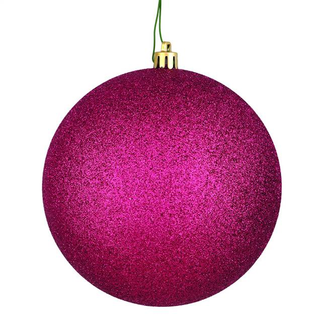"6"" Berry Red Glitter Ball Drilled 4/Bag"