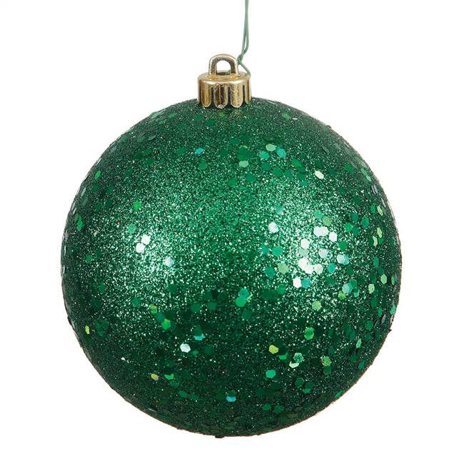 "6"" Emerald Sequin Ball Drilled 4/Bag"