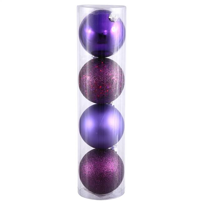 "6"" Plum 4 Finish Ball Drilled 4/Bag"