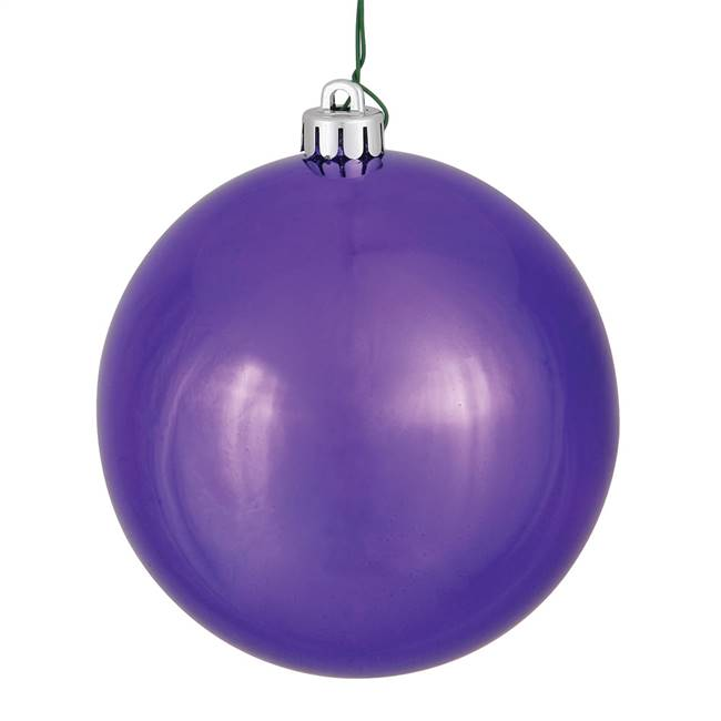 "6"" Plum Shiny Ball UV Drilled 4/Bag"