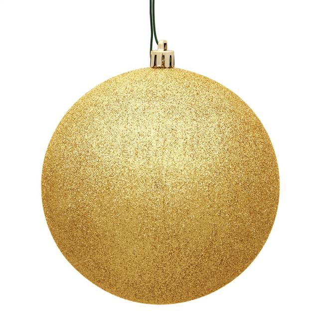 "6"" Honey Gold Glitter Ball Drilled 4/Bag"