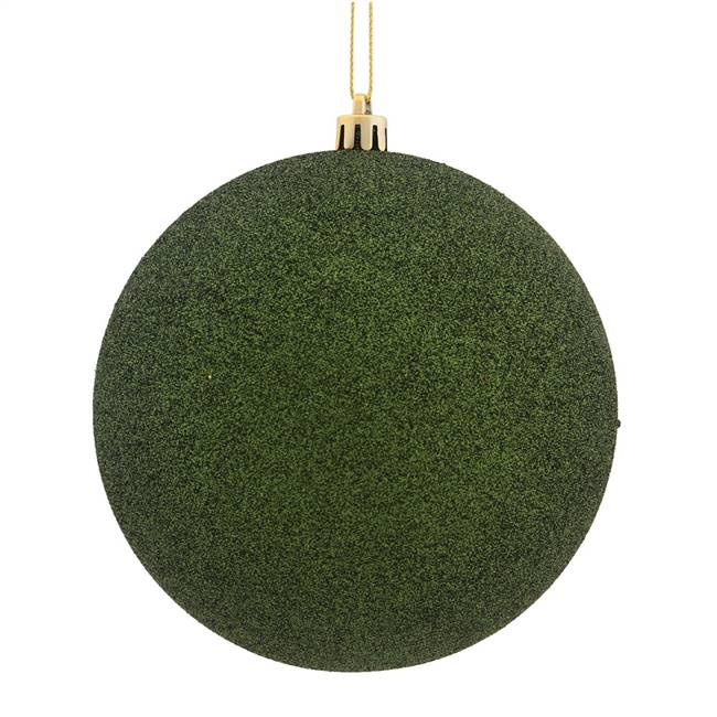 "6"" Moss Green Glitter Ball Drilled 4/Bag"