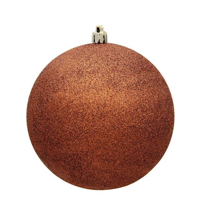 "6"" Copper Glitter Ball Drilled 4/Bag"
