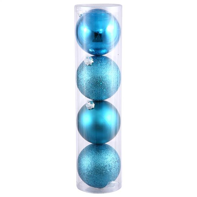 "10"" Turquois 4 Fin Ball Ast Drilled 4/Bg"