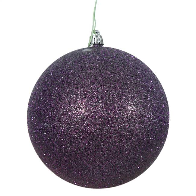 "10"" Plum Glitter Ball Drilled Cap"