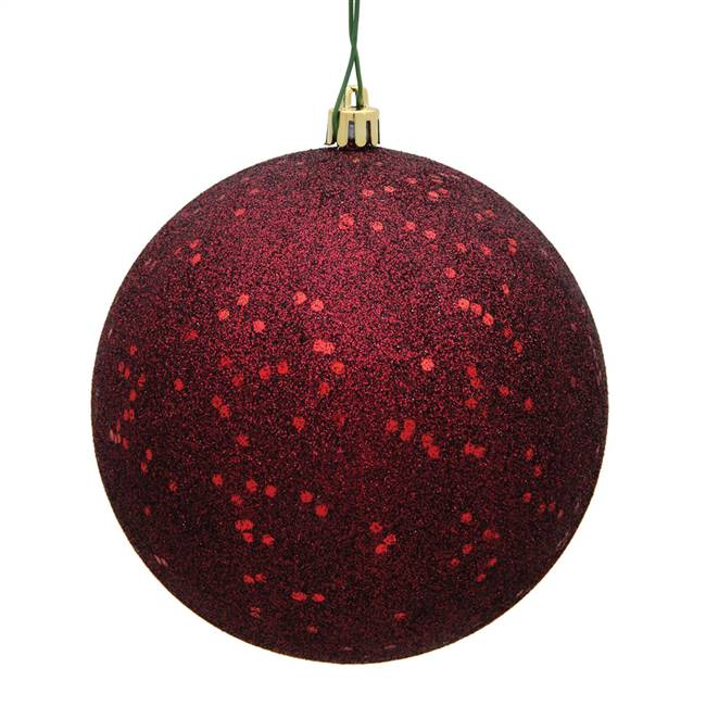 "10"" Burgundy Sequin Ball Drilled Cap"