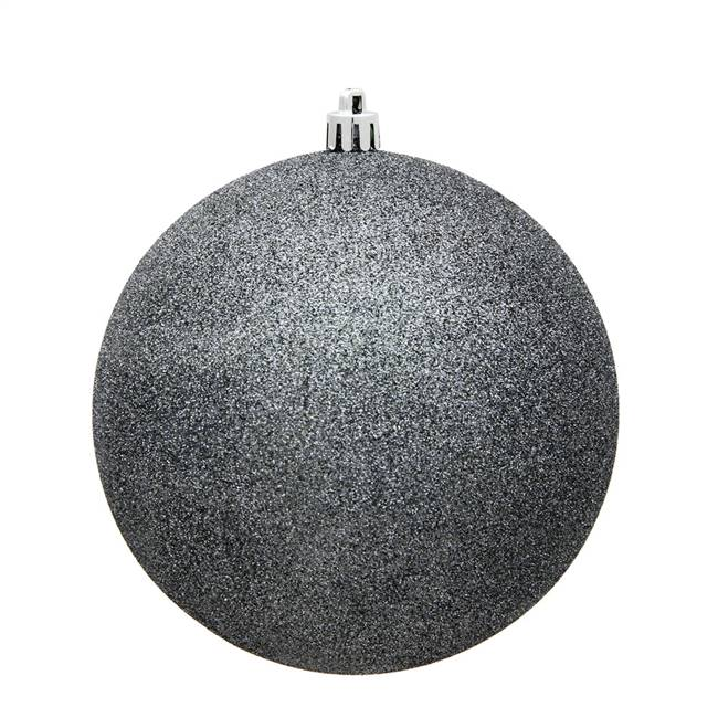 "10"" Pewter Glitter Ball Drilled Cap"