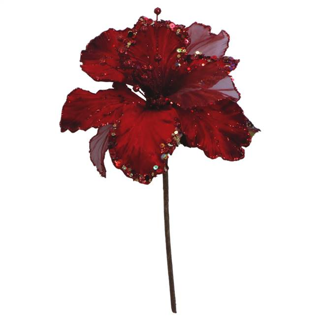 "27"" Red Glitter Amaryllis 7.5"" Flower"