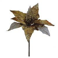 "32"" Gold Glitter Poinsettia 11"" Flower"