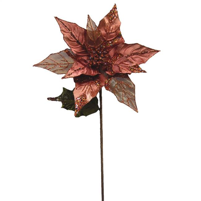 "32"" Chocolate Glitt Poinsettia 11"" Flwr"