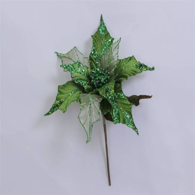 "31"" Lime Glitter Poinsettia 13"" Flower"