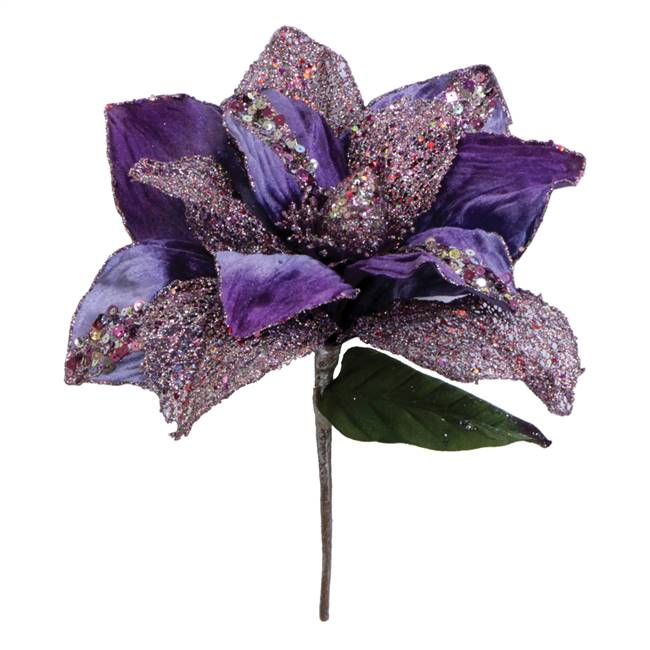 "31"" Purple Glitter Magnolia 13"" Flower"