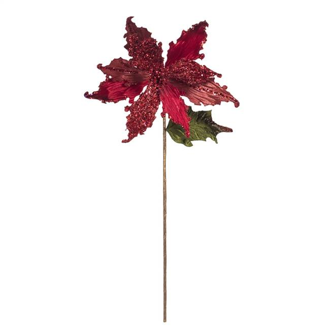 "20"" Red Poinsettia 12"" Flower 3/Bg"