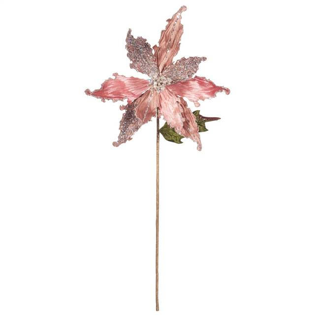"20"" Rose Gold Poinsettia 12"" Flower 3/Bg"