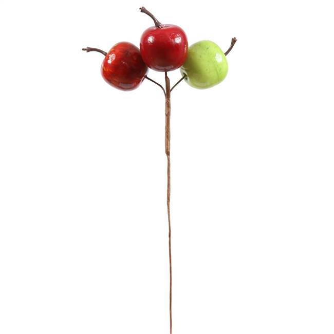 "3  Red-Grn-Yel Apple Pick x 3 7.5""Stem"
