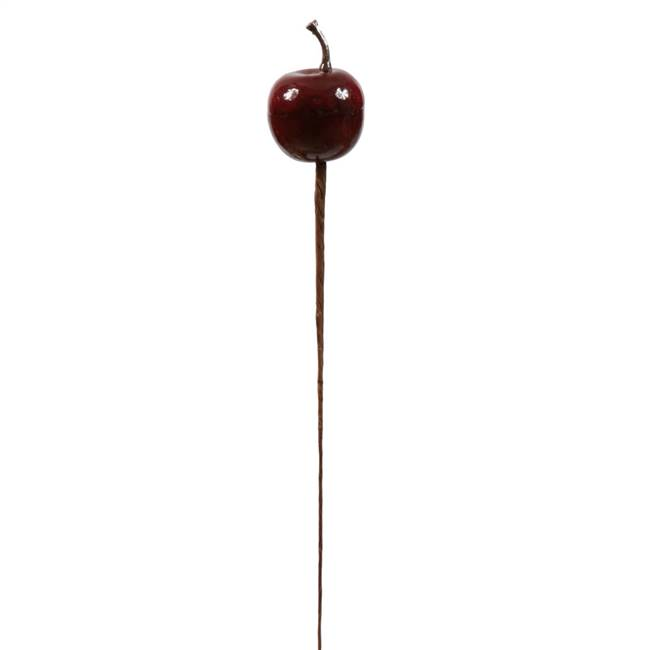 "3  Burgundy Apple Pick with 7.5"" Stem"