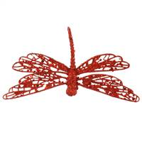 "6"" Red Glittered Dragonfly w/Clip"