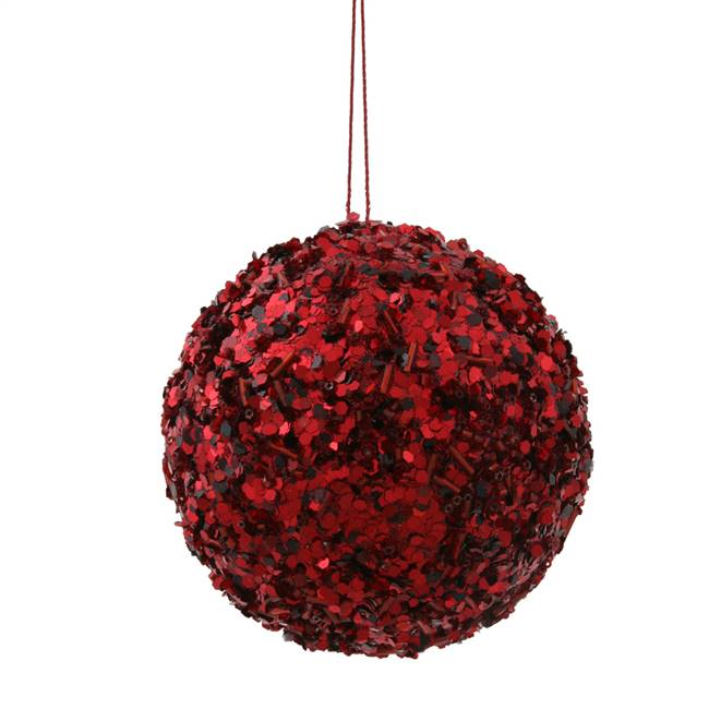 "3.5"" Burgundy Sparkle Sequin Ball"