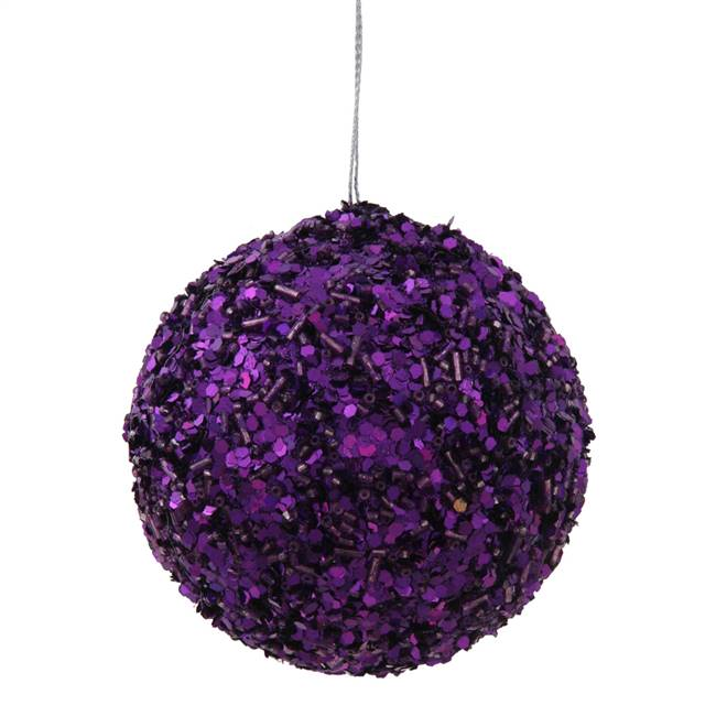 "3.5"" Purple Sparkle Sequin Ball"
