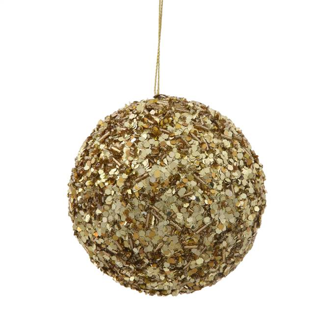 "3.5"" Gold Sparkle Sequin Ball"