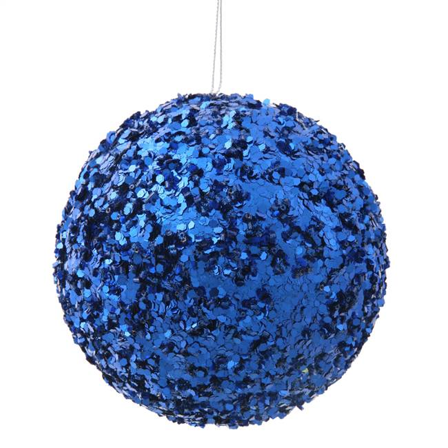 "4.75"" Blue Sparkle Sequin Ball"