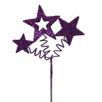 "10"" Purple Glitter Star Spray"