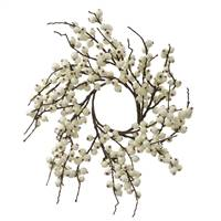 "18"" White Indoor/Outdoor Berry Wreath"